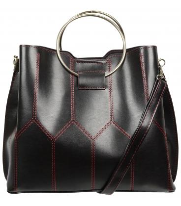 Čierno-červená prešívaná kabelka V18SM077BLC - GROSSO