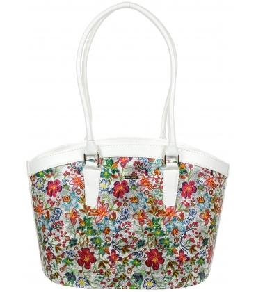 Biela kabelka s kvetinovou potlačou V18SM066MLT - GROSSO