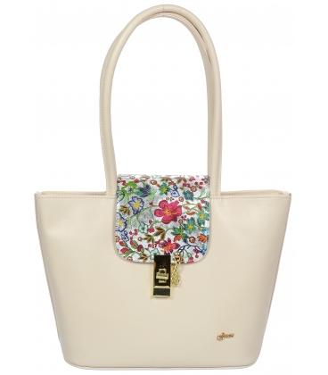 Svetlobéžová kabelka so sponou a kvetinovou potlačou V18SM080BEI - GROSSO