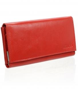 Dámska kožená červená peňaženka AD-10-210 RED