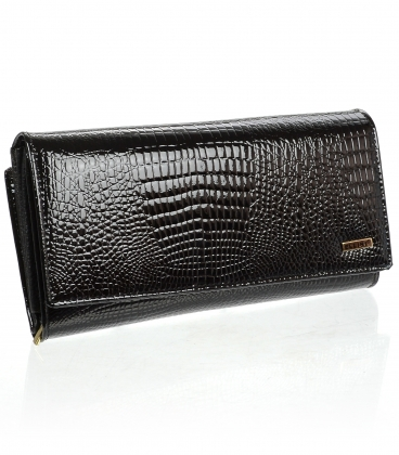 Dámska kožená čierna peňaženka CD-64-263 BLACK