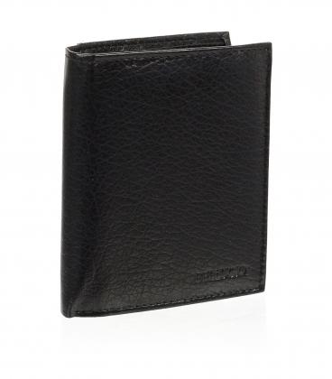 Pánska kožená čierna peňaženka AM-01-034 BLACK