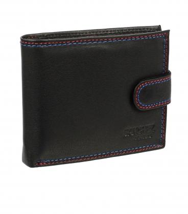 Pánska kožená čierna peňaženka ZM-77-032 BLACK
