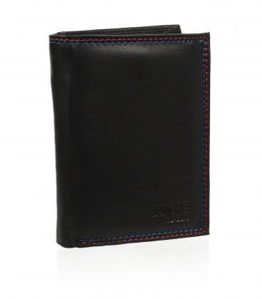 Pánska kožená čierna peňaženka ZM-77-034 BLACK