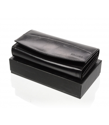 Dámska kožená čierna peňaženka AD-21-042M BLACK