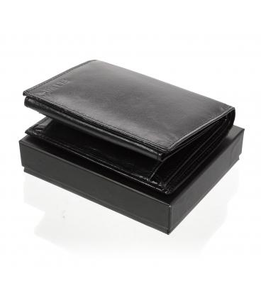 Pánska kožená čierna peňaženka AME-21R-034N BLACK