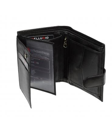 Pánska kožená čierna peňaženka AM-10-123A BLACK