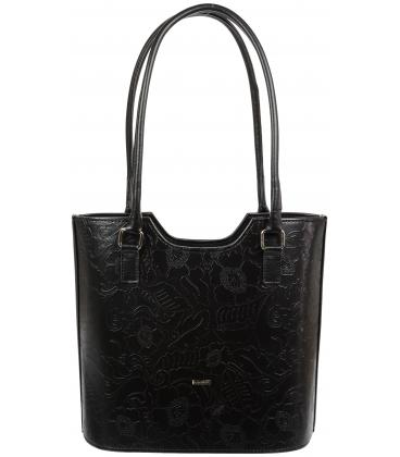 Čierna elegantná kabelka s listovou potlačou V18SM057BLC - GROSSO