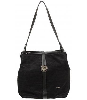 Čierna kabelka so striebornou aplikáciou V18SZ065BLC - GROSSO