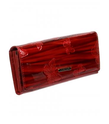 Dámska červená kožená lakovaná peňaženka s potlačou motýľa 72401 CBR-RED
