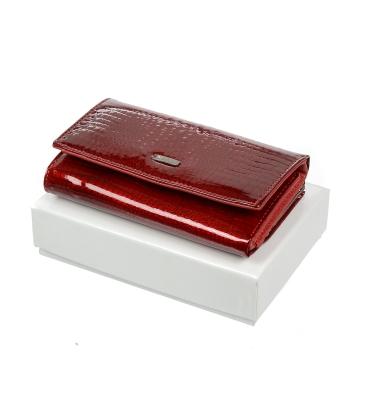 Dámska červená kožená lakovaná peňaženka 55020 RS-RED