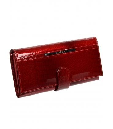 Dámska červená kožená peňaženka s kroko efektom JP515RS-RED