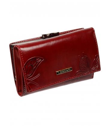 Dámska červená kožená peňaženka s potlačou motýľa 55020 EBF-RED