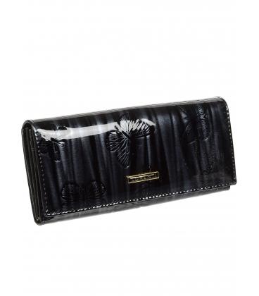 Dámská černá kožená peněženka s potiskem motýla 72401 CBR-BLACK