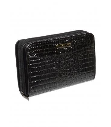 Dámska čierna kožená lakovaná peňaženka s kroko efektom 0112 BLACK