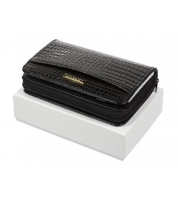 Női fekete bőr lakkozott pénztárca 0112 BLACK