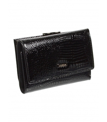 Dámská černá kožená lakovaná peněženka s kroko efektem 55282 RS-BLACK