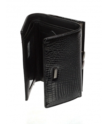 Dámska čierna kožená lakovaná peňaženka s kroko efektom 55282 RS-BLACK