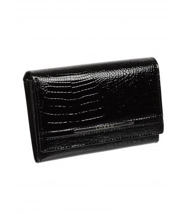 Dámska čierna kožená lakovaná peňaženka s kroko efektom JP507CS-BLACK