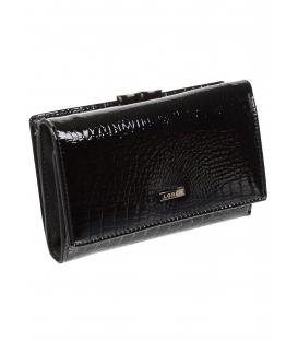 Dámska čierna kožená peňaženka s kroko efektom 55020 RS-BLACK
