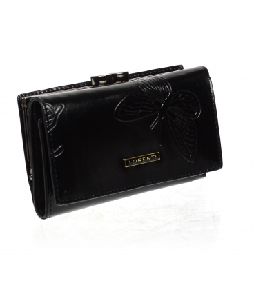 Dámska čierna kožená peňaženka s potlačou motýľa 55020 EBF-BLACK