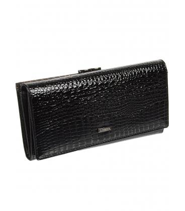Dámská černá kožená peněženka s kroko efektem 72031 RS-BLACK