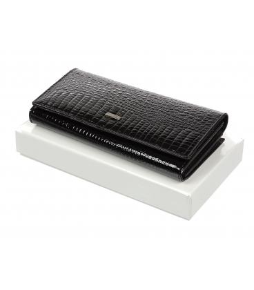 Női fekete bőr pénztárca 72031 RS-BLACK