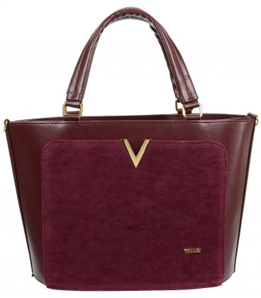 Bordová elegantná kabelka so zlatou aplikáciou V18SZ056BRD-GROSSO