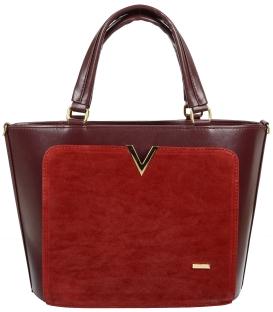 Červená elegantná kabelka so zlatou aplikáciou V18SZ056RED-GROSSO