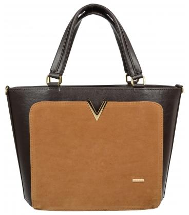 Čierno-hnedá elegantná kabelka so zlatou aplikáciou V18SZ056BRW-GROSSO