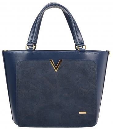 Modrá elegantná kabelka so zlatou aplikáciou V18SZ056BLU-GROSSO
