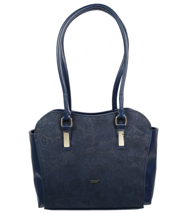 Tmavomodrá kabelka s listovou potlačou V18SM055BLU-GROSSO