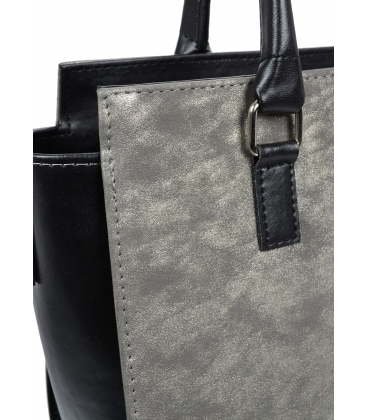 Strieborno-čierna elegantná kabelka V18SM054SLV-GROSSO