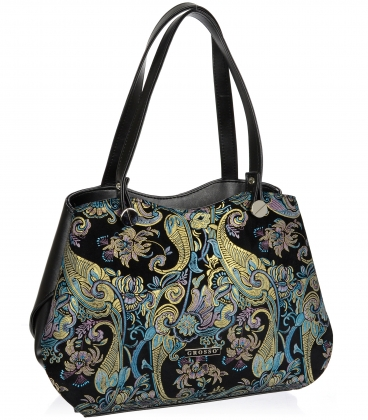 Čierna elegantná kabelka s etnickým motívom V18SM079ETN - GROSSO