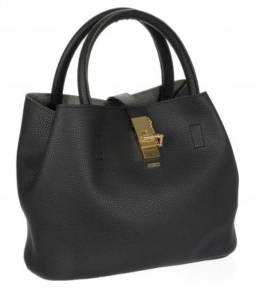 Čierna kabelka so zlatou sponou V18SM058BLC - GROSSO