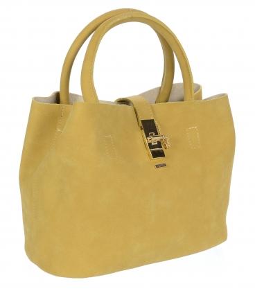 Elegantná kabelka so zlatou sponou vo farbe camel V18SM058CML - GROSSO