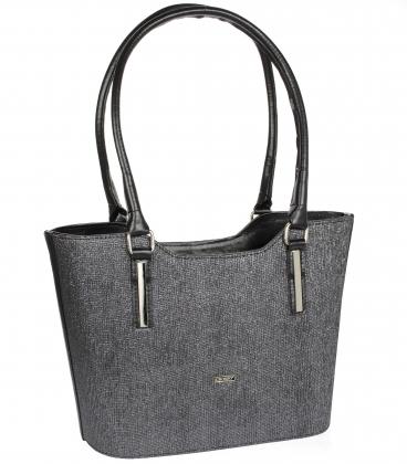 Stříbrno - černá elegantní kabelka V18SM073SLV - GROSSO