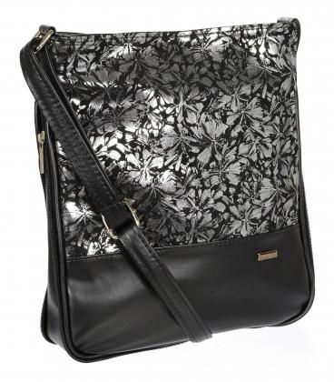 Čierna crossbody kabelka so striebornými kvetmi C18SM003BLC - GROSSO