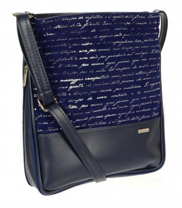 Tmavomodrá crossbody kabelka s písmenkovou potlačou C18SM003BLU - GROSSO
