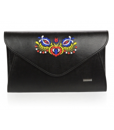 Čierna listová kabelka s folklórnym motívom S18FOLK004BLC - GROSSO