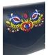 Tmavomodrá listová kabelka s folklórnym motívom S18FOLK004BLU - GROSSO
