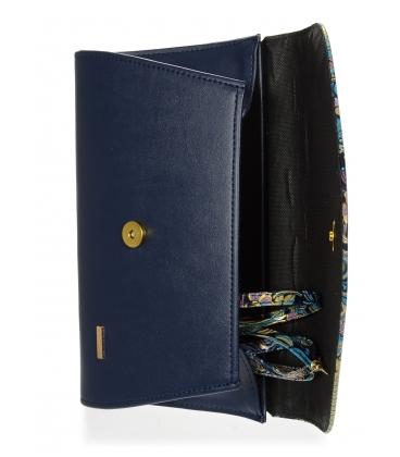 Tmavomodrá listová kabelka s etnickým motívom S18SM004BLU - GROSSO