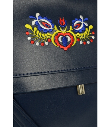 Tmavomodrá crossbody kabelka s folklórnym motívom C18FOLK003BLU - GROSSO
