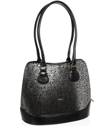 Čierna elegantná kabelka so striebornými kvetmi V18SM055BLC - GROSSO