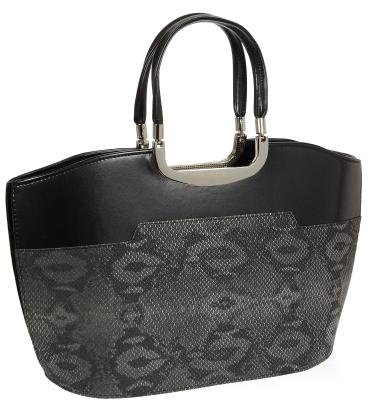 Čierno - šedá elegantná kabelka V18SM084BLC - GROSSO
