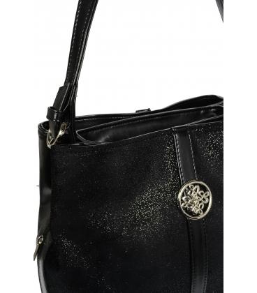 Čierna trblietavá kabelka so striebornou aplikáciou V18SM065BLC - GROSSO