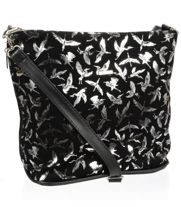 Černá crossbody kabelka s potiskem stříbrných ptáků C18SM009BLC - GROSSO