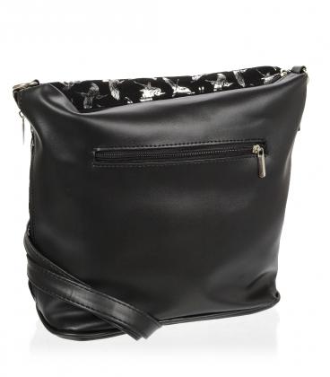 Čierna crossbody kabelka s potlačou strieborných vtákov C18SM009BLC - GROSSO