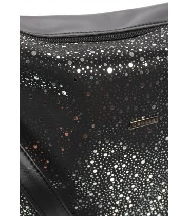 Čierna crossbody kabelka so striebornými guličkami C18SM009BLC - GROSSO