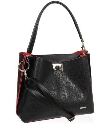Černo-červená kabelka V18SM013BLC - GROSSO